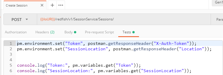 Postman test script to store Token and Location headers